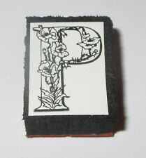 "P Rubber Stamp Foam Mounted Letter Initial Flowers NOS 1"" High New"