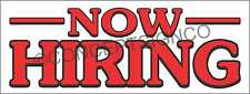 3'X8' NOW HIRING BANNER Outdoor Signs LARGE Jobs Fair Apply Within Applications