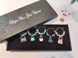 boxed set 6 enamel handbag wine glass charms ideal gift dinner party / birthday
