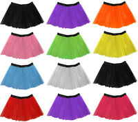 "Long 14"" Neon 3 Layers of Net UV Flo Tutu Skirt Hen Fancy Dress Party Adult Size"