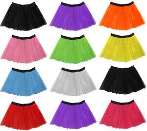 "Long 14"" Neon 3 Layers of Net UV Flo Tutu Skirt Hen Fancy Dress Party Adult Size"