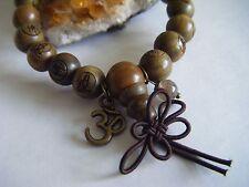 Spiritual Mala Bracelet Buddha Om Yoga Labradorite ECO Organic Wood Beads Unisex