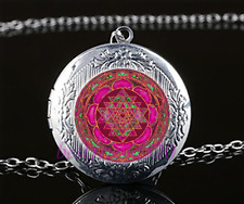 Sri Lakshmi Yantra Cabochon Glass Tibet Silver Chain Locket Pendant Necklace