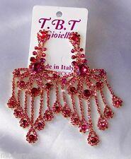 Flamenco orecchini lunghi oro Strass,zircone,cristalli,da Donna,rosa mezza luna