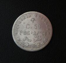 RARE Italian Colonial Eritrea 50 Centesimi Silver Coin 1890 !! NICE GRADE!
