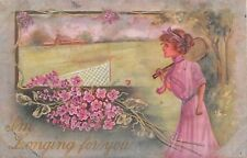 Pretty Lady With Tennis Racket by Lilacs By Tennis Court-Reynolds Artist-Old PC