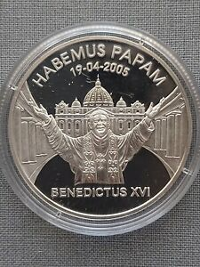 LIBERIA  10 Dollars 2005  « Benedictus XVI»  Silver 0.925 , PP certificate.