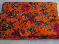 Indian Bird Floral Print Black Bedspread Kantha Quilt Cotton Blanket Queen Size