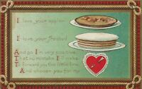 Vintage Postcard Valentine Apple Pie Frosted Cake Red Heart 1911