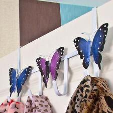 Over Door Hanger 4 Hook Holder Butterfly Butterflies Metal Multi Bedroom