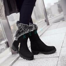 Lady Pull On Winter Warm Casual Fur Boots Shoes Suede Low Cuban Heels Sizes