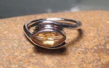 Sterling 925 silver cut citrine gemstone ring UK N/US 6.75. Gift Bag.
