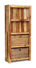 CUBE LIGHT SHEESHAM FURNITURE BOOKCASE WITH BASKETS (C8L&B42)