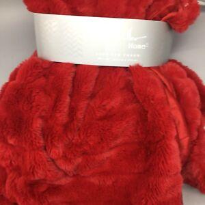 Nicole Miller Throw Blanket Red Faux Fur Stripe Valentine Christmas Luxury 50x60