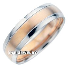 10K TWO TONE GOLD MENS WEDDING BANDS,ROSE GOLD 7MM SATIN FINISH WEDDING RINGS