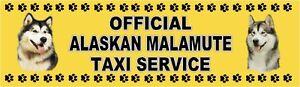 ALASKAN MALAMUTE OFFICIAL TAXI SERVICE  Dog Car Sticker  By Starprint