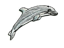 "Dolphin - Ocean - Gray Embroidered Iron On Patch - 2 5/8""W - R"
