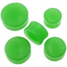 "1 Pair GIANT 5/8"" Green Stone Glass Saddle Plugs Ear 16mm Organic Double Flare"