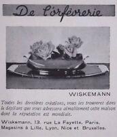 PUBLICITÉ 1930 DERNIERE CREATION DE L'ORFEVRERIE CHEZ WISKEMANN
