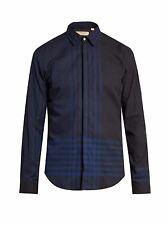 New $425 Burberry Melthorpe Bright Navy Trim Fit Plaid Sport Shirt Men S
