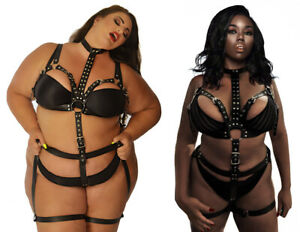Plus Size 6-30+ Studs Bra Leg Straps Leather Bondage Set Harness Curve DD+ BBW