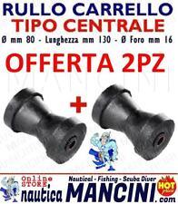 2 RULLI CENTRALI REGGICHIGLIA 130X80 MM RICAMBIO CARRELLO BARCA RULLO TRASPORTO