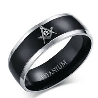 8MM Fashion Stainless Steel Titanium Masonic Lodge Freemason Band Ring Size6-13