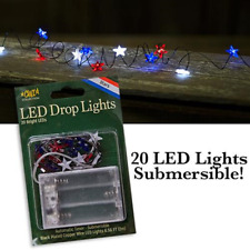 Patriotic Star LED String Lights Red White Blue Automatic Battery 6/18 Timer