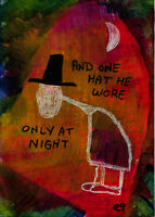 21011004 e9Art ACEO Hat Moon Night Outsider Art Painting Brut Abstract Expressio