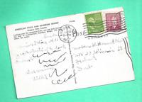 Double Country Franking Canada US Auburn NY Postcard Coil Niagara 1951 Cayuga Co
