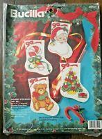 Bucilla Holiday Stockings Gift Set of 4 Counted Cross Stitch Stockings Kit Santa