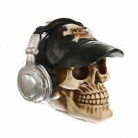 Resin Craft Statues Skull Dj Gift Headphone Skull Figurines Sculpture Home Decor