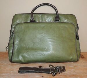 NWOT BUENO GREEN FAUX LEATHER LAPTOP CASE TOTE BAG TABLET LARGE BRIEFCASE 17X12""