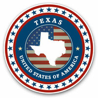 2 x Vinyl Stickers 7.5cm - United States America Texas Flag Map Cool Gift #5496
