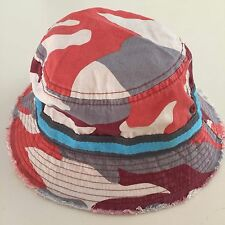 MINI BODEN AWESOME Boy's Red Gray Camouflage Bucket Hat, 7-10 years GREAT!!
