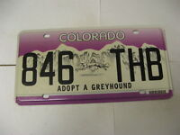 Colorado CO License Plate Adopt a Greyhound License Plate 846 THB
