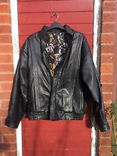 Mens Leather Jacket Size XL Black