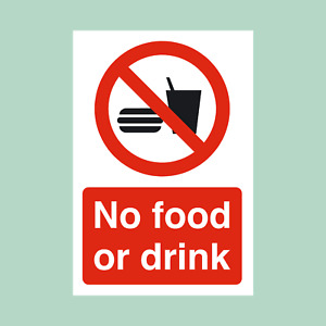 No Food or Drink Plastic Sign/Sticker - All Sizes (MISC92)