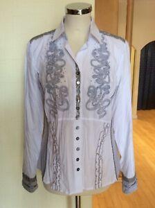 Just White Blouse Size 10 BNWT White Grey Pinstripes Ruffles RRP £123 Now £45