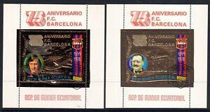 "1974 Equatorial Guinea 2 golden sheets""Soccer, footbal, Barcelona, Johan Cruyff"""