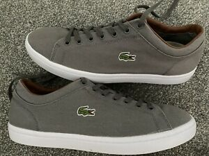 Mens LACOSTE Grey Canvas Casual Shoes Trajners Size 10