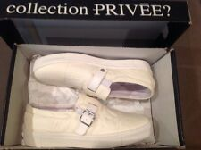 $ 350+tax NIB Collection Privee ? White Leather Slip-On Sneakers US-10(M)  ITALY