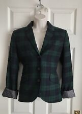 JACK Wills WOMAN'S Navy & Green Check Blazer Misto Lana Taglia 10