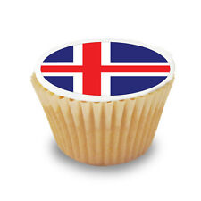 15 x Iceland / Icelandic Flag - Pre Cut Cupcake Toppers Premium Icing Sheet