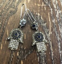 Sterling Silver Gold Blue Sapphire & Clear Crystal Hamsa Hand Dangle Earrings