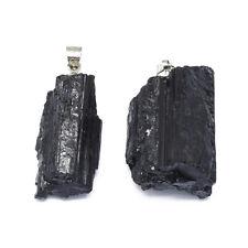 5× Natural Black Tourmaline Pendant Jewelry Charm Gemstone Chain Necklace Craft