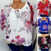 Plus Size Womens Boho T Shirt Long Sleeve Off Shoulder Casual Tops Floral Blouse