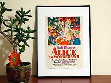 Alicia en el país de las maravillas poster Vintage Disney-A4 Brillante-Envío Gratis