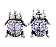 Vintage retro style antique bronze coloured beetle earrings with crystal