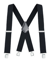 "Buyless Fashion Mens Suspenders 48"" Elastic Adjustable Heavy Duty 2"" Wide X Back"